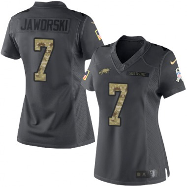 Women's Nike Philadelphia Eagles Ron Jaworski 2016 Salute to Service Jersey - Black Limited
